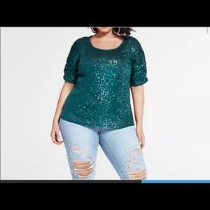 Fashion to Figure ruched sequin top size 2 - green